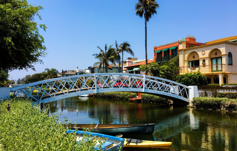 Wallpaper Bridge Palm Trees Home Boats Ca Channel Usa Sunny