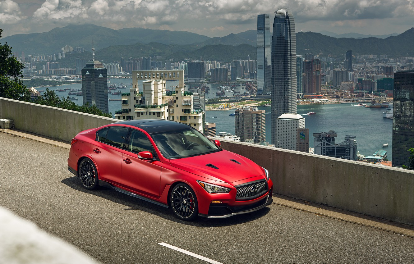 Photo wallpaper red, infinity, q50