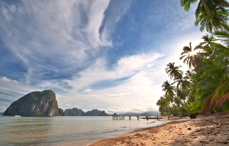 Photo wallpaper sand, sea, the sky, clouds, landscape, nature, palm trees, the ocean, shore, island, sky, sea, …