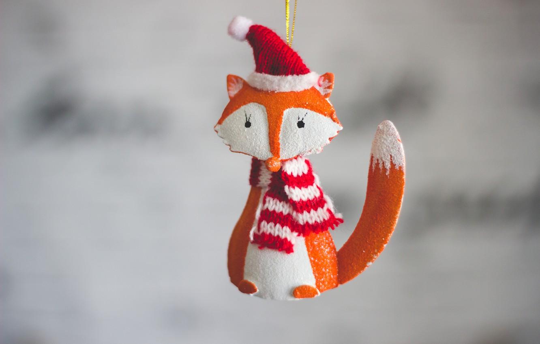 Photo wallpaper holiday, toy, new year, Fox, Fox, cap