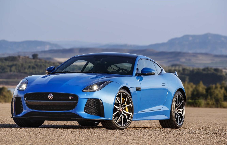 Photo wallpaper Jaguar, Blue, Coupe, F-Type, SVR