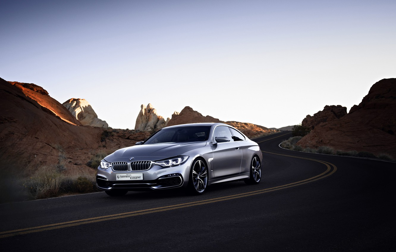 Photo wallpaper Concept, BMW, Rock, Coupe, Style, Road, 2013, Silver, 4 series