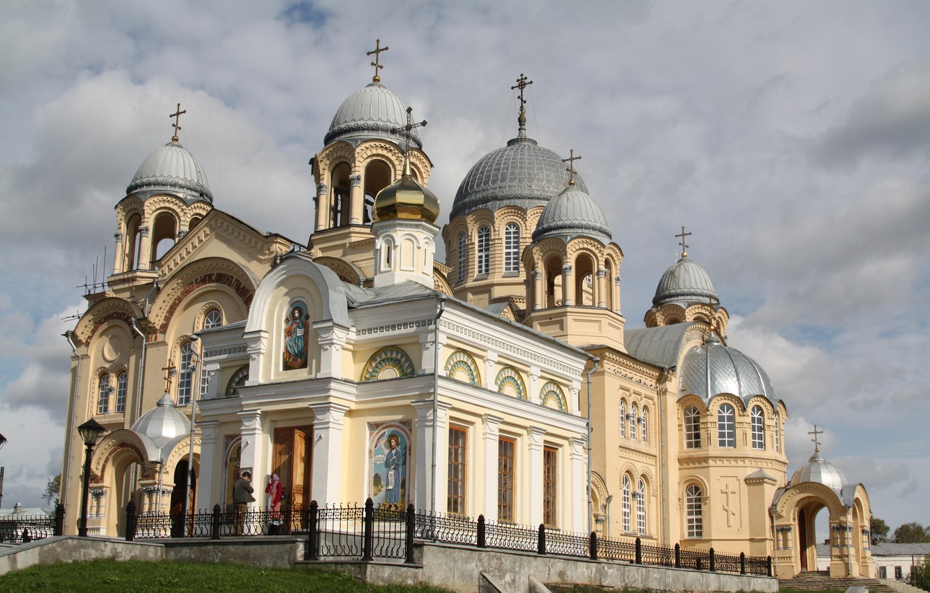 Photo wallpaper Church, Cathedral, temple, architecture, the dome, painting, thread, Holy cross, Verkhoturye, Nicholas