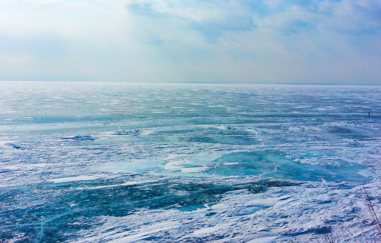 Photo wallpaper ice, the sun, lake, Baikal