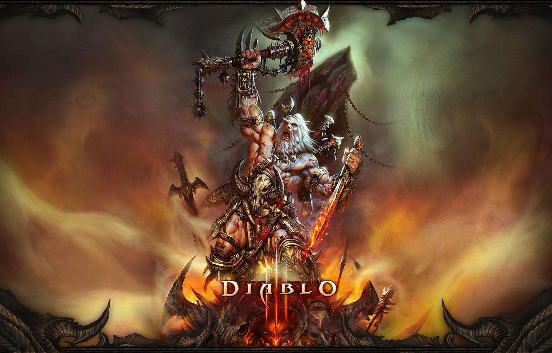 Photo wallpaper sword, axe, Diablo 3, barbarian