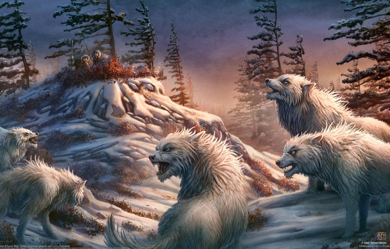 Photo wallpaper people, wolves, kerem couplets, hunters