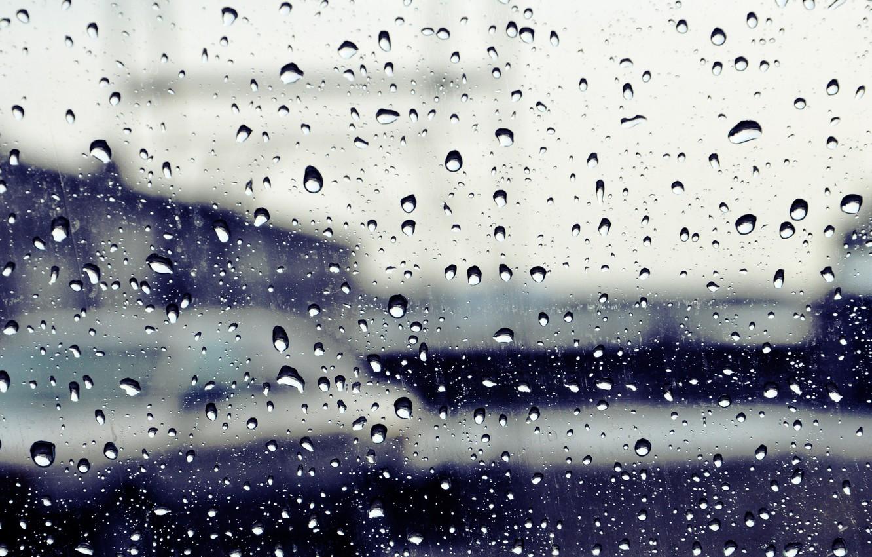 Photo wallpaper glass, drops, the city, rain, street