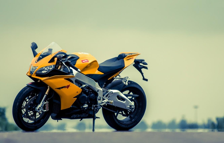 Photo wallpaper yellow, motorcycle, aprilia, bike, yellow, Aprilia, rsv4, Supersport