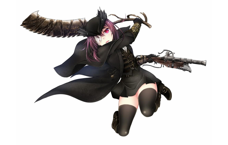 Photo wallpaper gun, game, weapon, hat, anime, rpg, leather, cute, action, pretty girl, hunter, cloak, pantyhose, skirt, …