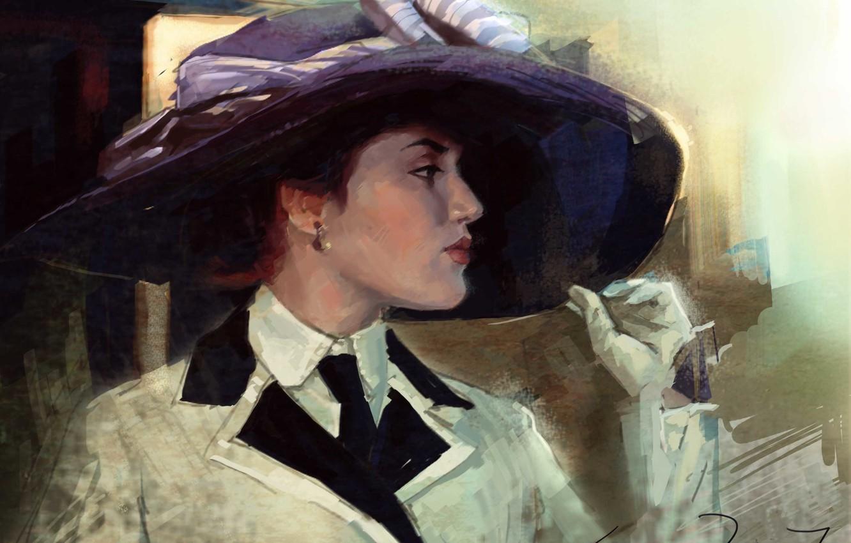 Photo wallpaper girl, hat, art, gloves, Titanic, painting, Titanic, Kate Winslet, Kate Winslet, Rose, DeWitt, Bukater