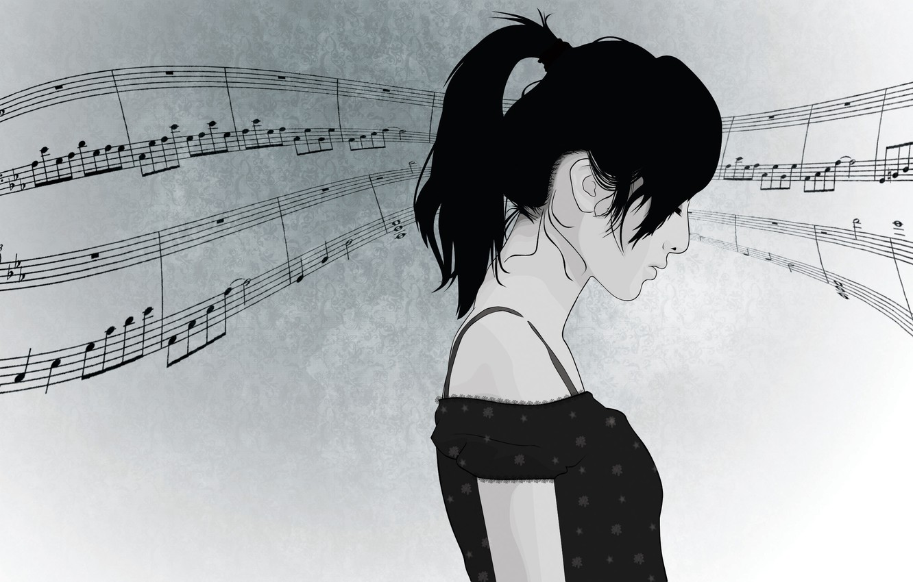 Photo wallpaper girl, face, notes, music, hair, vector, profile, ponytail