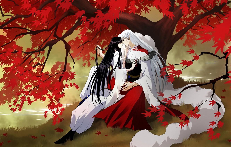 Photo wallpaper autumn, leaves, girl, river, tree, art, guy