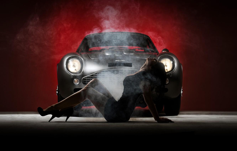 Photo wallpaper girl, smoke, silver, Aston Martin, silver, girl, Aston martin, smoke, DB4