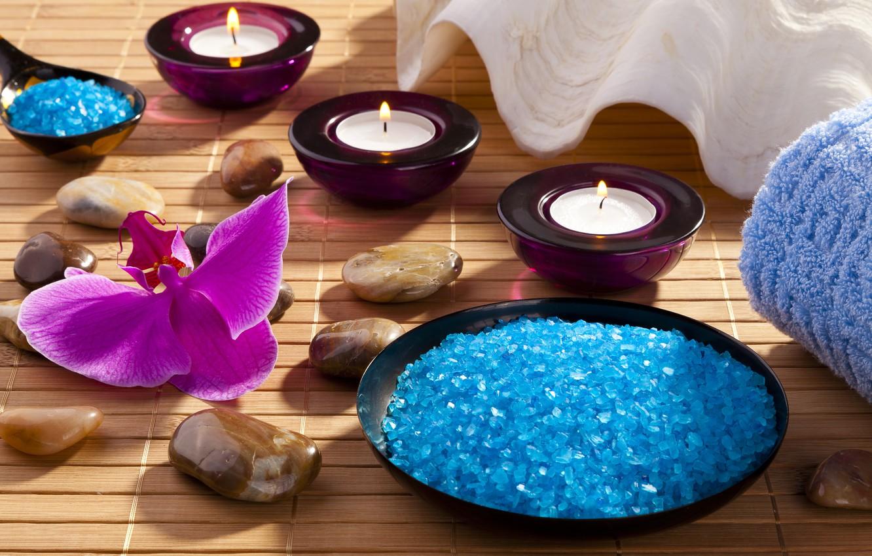 Photo wallpaper candles, Orchid, sea salt, Spa stones