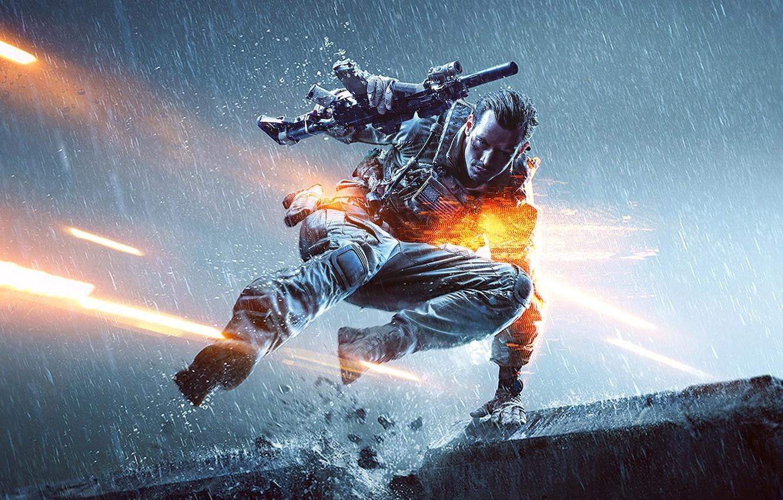Photo wallpaper lights, gun, weapons, rain, jump, soldiers, machine, gloves, equipment, the vest, Electronic Arts, DICE, Battlefield …