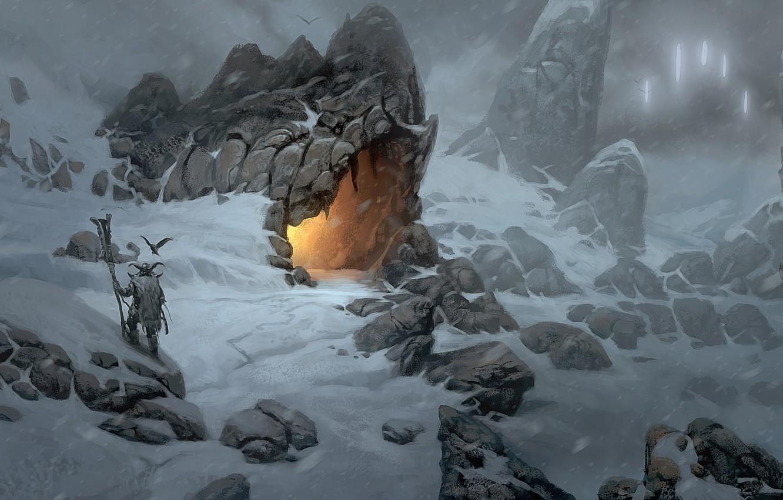 Photo wallpaper snow, mountains, fire, art, cave, Viking