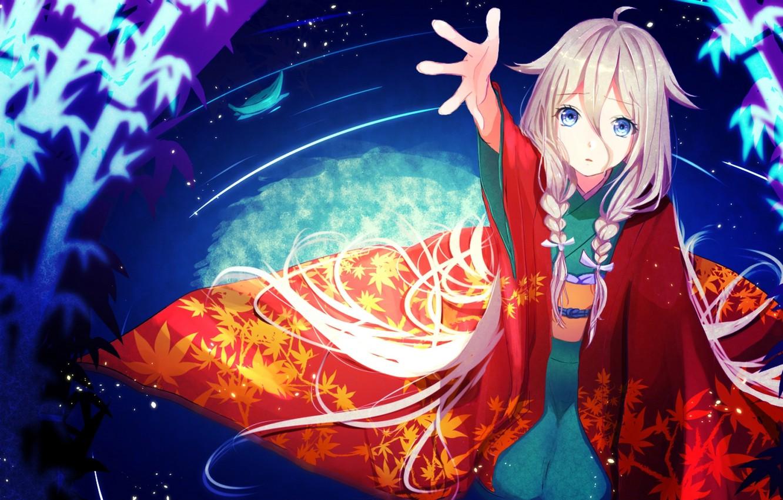 Photo wallpaper water, girl, anime, art, braids, kimono, vocaloid, nekomaaro