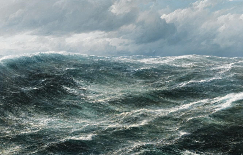 Photo wallpaper sea, wave, clouds, landscape, the wind, the seascape, hugo schnars alquist