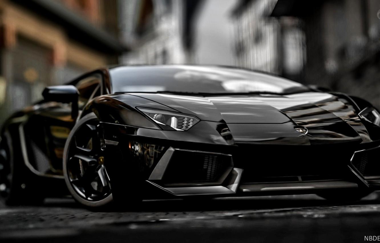 Photo wallpaper Black, Lamborghini, Power, Aventador, Blurred background, Sports car