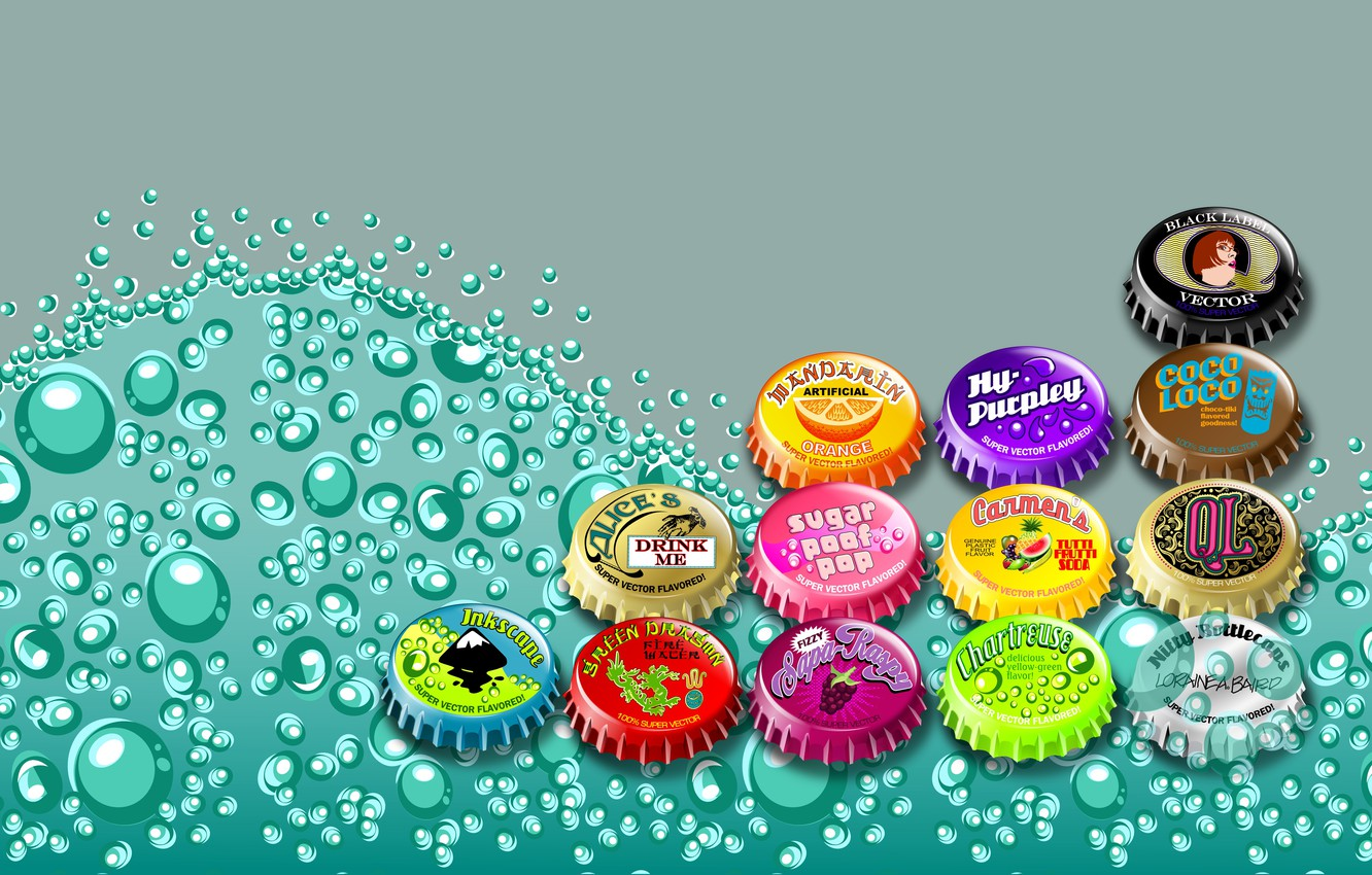 Photo wallpaper bubbles, vector, cover, bright colors, carbonated drink, colored caps