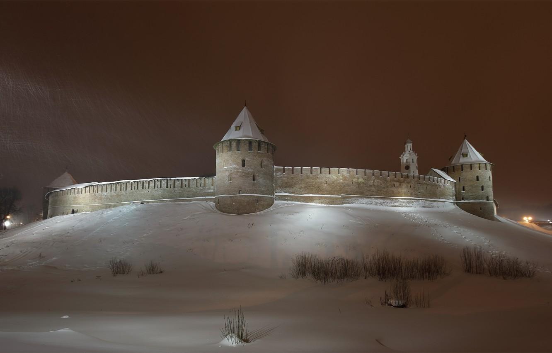 Photo wallpaper winter, the sky, snow, night, the city, wall, tower, the Kremlin, tower, Novgorod, Novgorod Kremlin, …