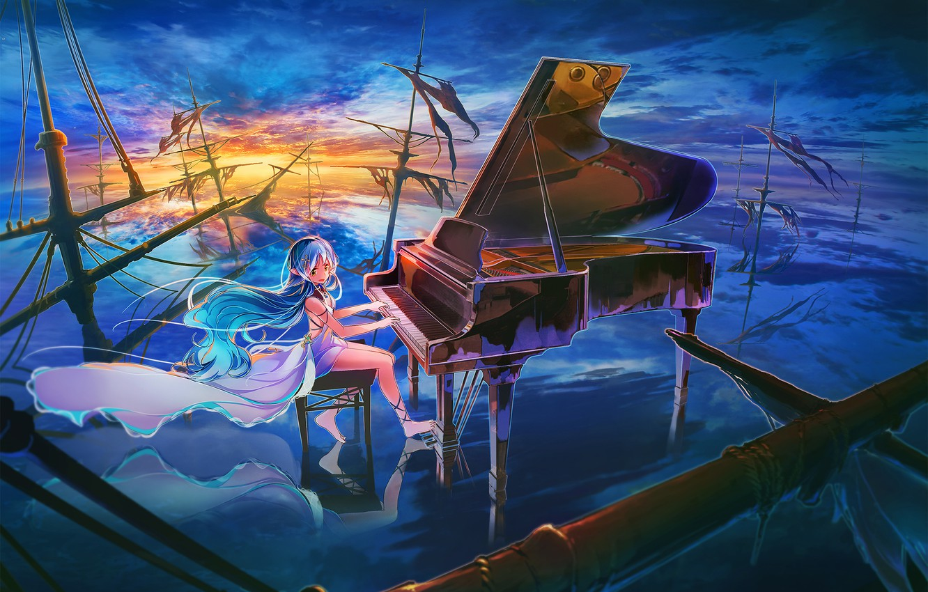 Wallpaper The Sky Girl Clouds Sunset Ships Anime Piano Art Mast Inzanaki Images For Desktop Section Prochee Download