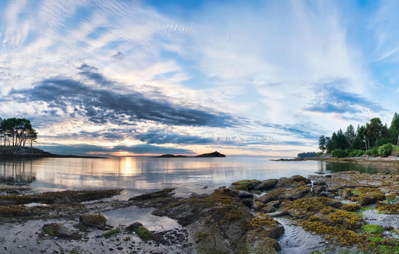 Photo wallpaper the sky, clouds, mountains, lake, Canada, British Columbia, Canada, Galiano Island, deriva