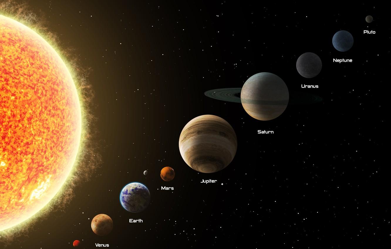 Photo wallpaper Saturn, Earth, Neptune, Venus, Uranus, Jupiter, Mars and Mercury.