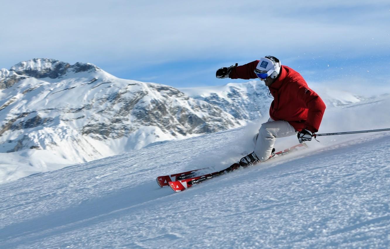 Photo wallpaper forest, snow, mountains, freeride, freeride, Skiing