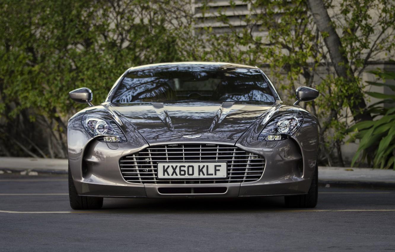 Photo wallpaper trees, Aston Martin, before, Aston Martin, Parking, supercar, supercar, front, tree, parking, One-77