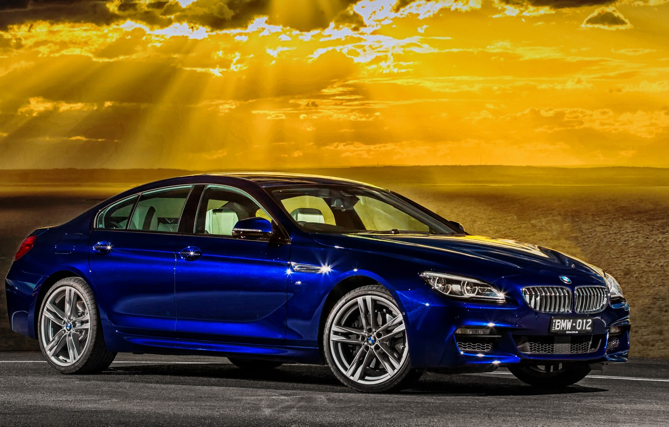 Photo wallpaper sea, sunset, BMW, coupe, the evening, BMW, Gran Coupe, Sport, F06, AU-spec, 650i, 2015, 6-Series
