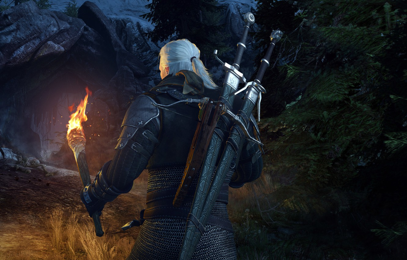 Photo wallpaper torch, cave, swords, the Witcher, rpg, Geralt, crossbow, the wild hunt, wild hunt, the witcher …