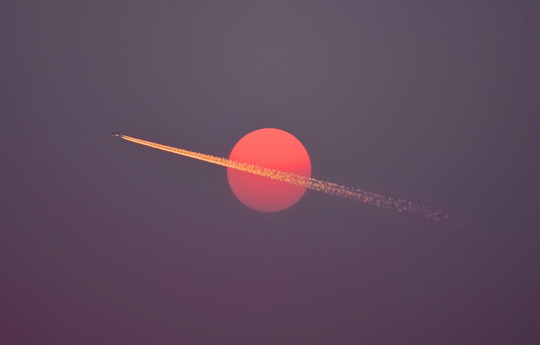 Photo wallpaper sky, flight, sun, airplane, dusk