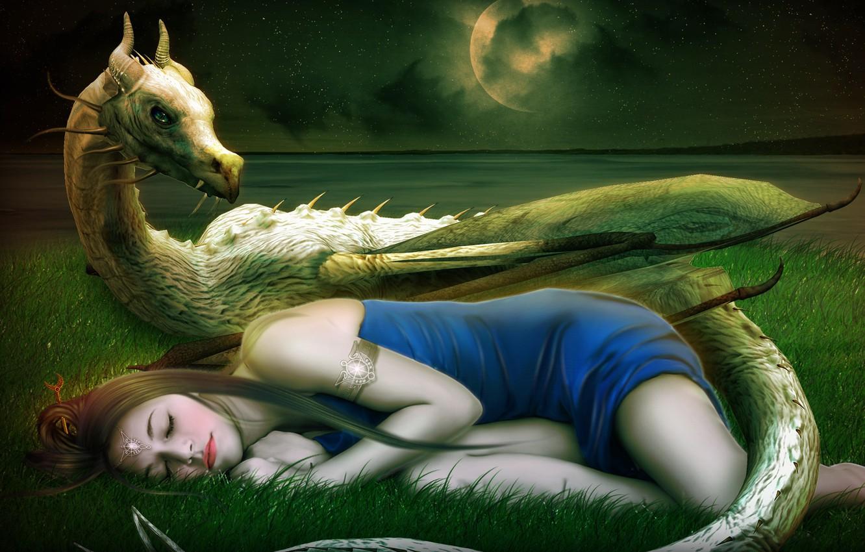 Photo wallpaper girl, stars, decoration, face, fiction, the moon, dragon, sleep, dress, art, sleeping, horns, travneva