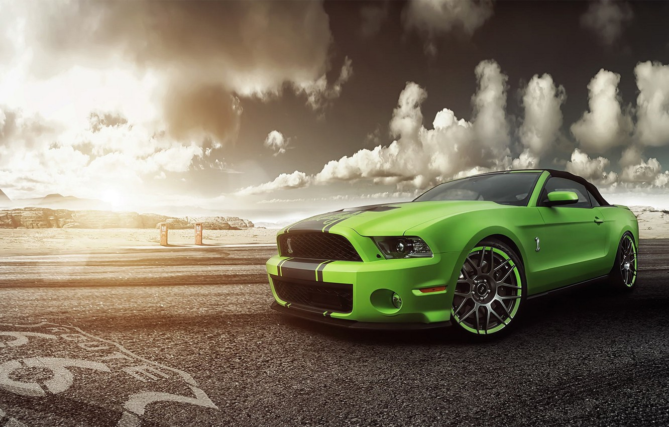 Photo wallpaper green, Mustang, Ford, Shelby, GT500, Mustang, green, before, muscle car, Ford, Shelby, muscle car, front