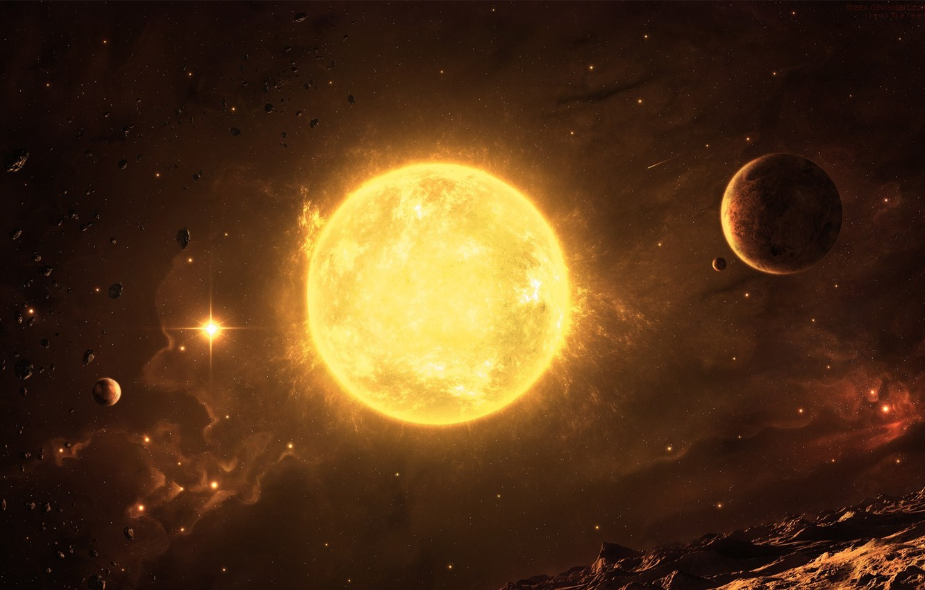 Photo wallpaper space, star, planet, asteroids relief