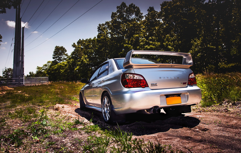 Photo wallpaper Subaru, back, silver, wrx, impreza, Subaru, sti, Impreza