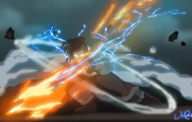 Photo wallpaper water, fire, earth, element, magic, lightning, art, the air, Korra, Times, The Legend of Korra, …