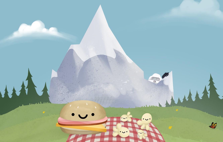 Photo wallpaper forest, clouds, snow, mountains, butterfly, meadow, forest, sky, butterfly, mountain, snow, popcorn, Yeti, sandwich, Steam, …