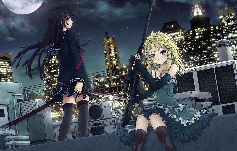 Photo wallpaper weapons, girls, sword, anime, art, sniper rifle, Black Bullet, Black bullet, tendou kisara, tina sprout
