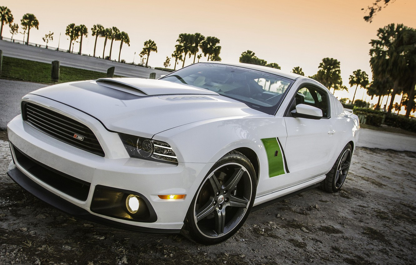 Photo wallpaper white, Ford, mustang, white, drives, muscle car, roush, green stripes, rs3, oil CT