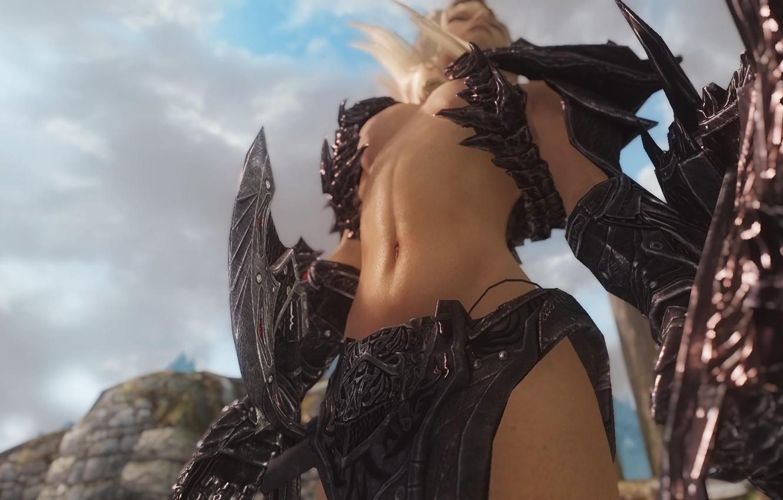 Photo wallpaper girl, weapons, the game, body, view, blonde, The Elder Scrolls V: Skyrim