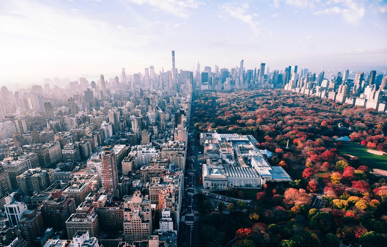 Photo wallpaper autumn, the city, Park, USA, New York