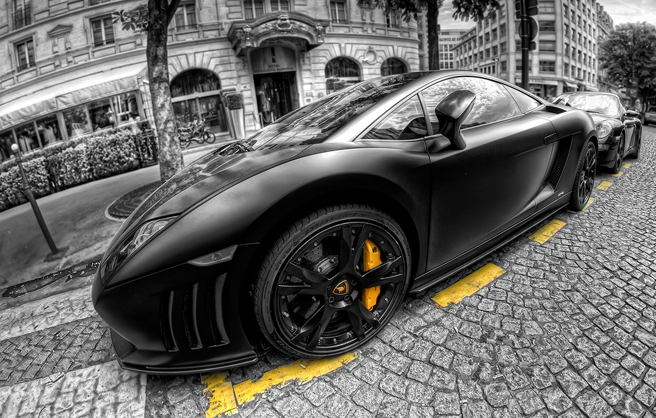 Photo wallpaper hdr, gallardo, lamborghini, black