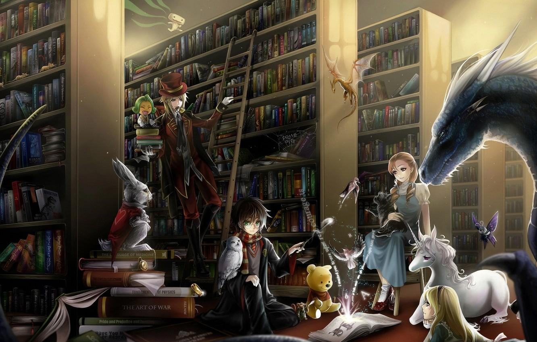 Photo wallpaper owl, magic, dragon, books, unicorn, library, Alice in Wonderland, Winnie the Pooh, Harry Potter, harry …