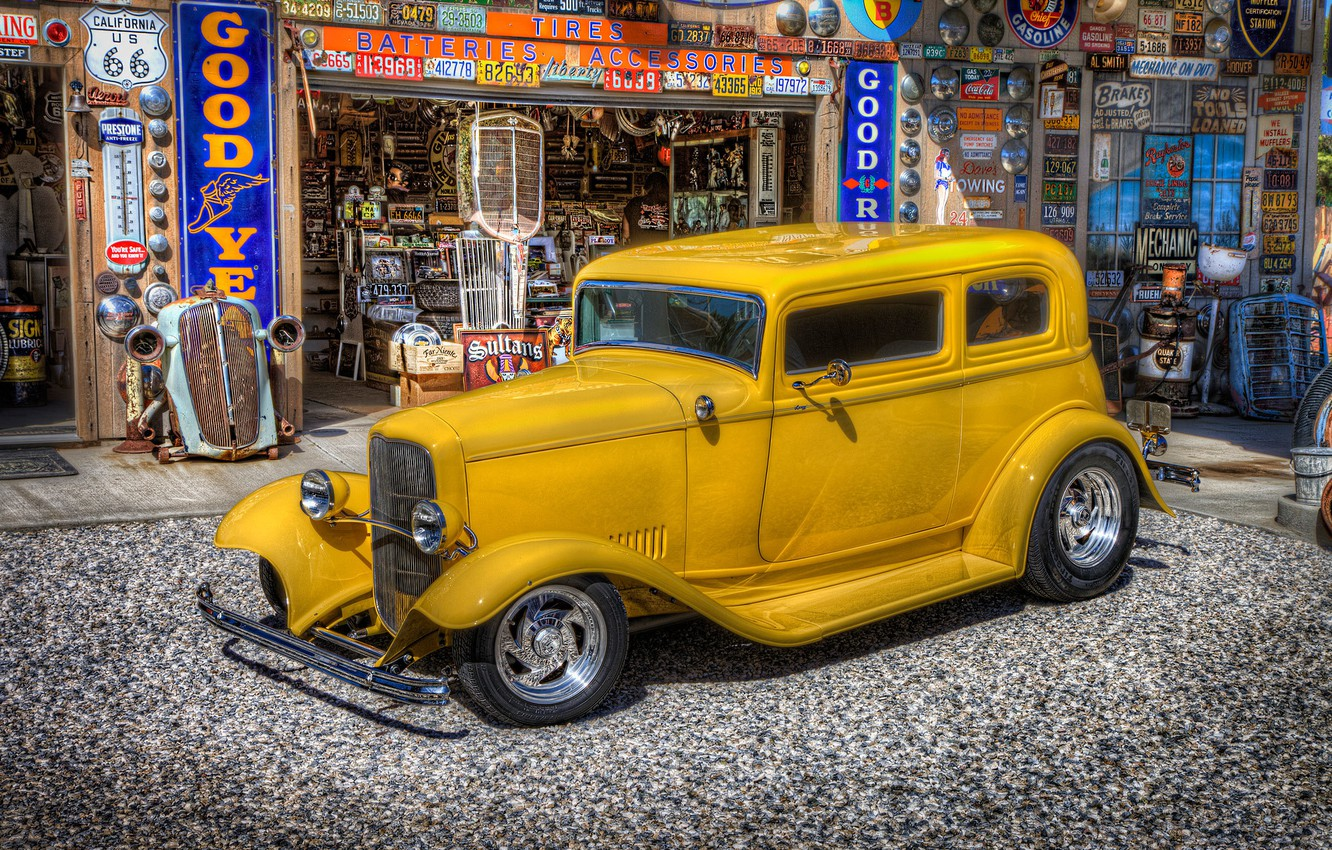 Photo wallpaper retro, Ford, dressing, car, classic, gas station, service