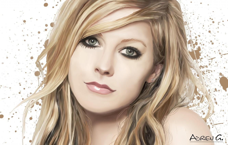Photo wallpaper girl, face, art, blots, singer, Avril Lavigne, Adrien Gaudin