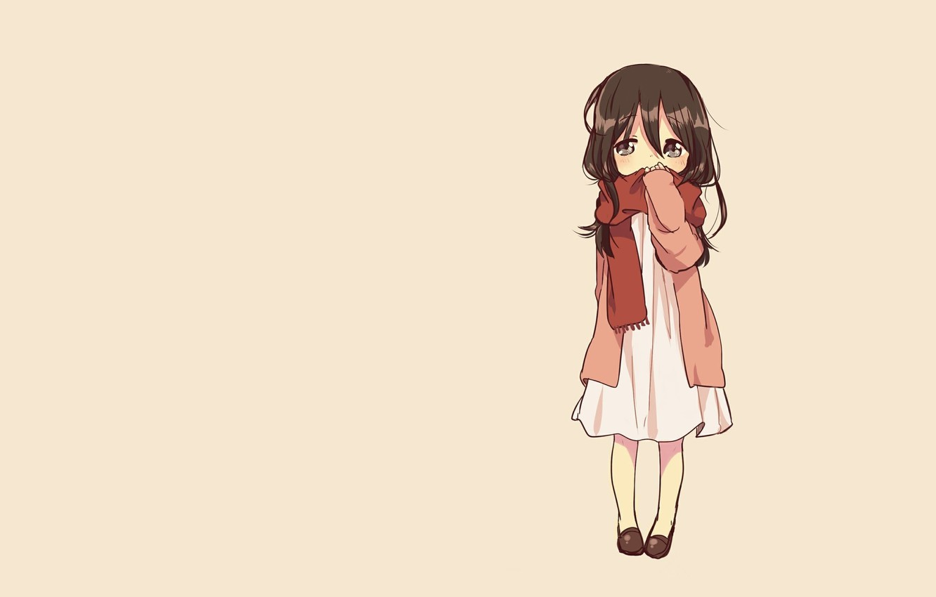 Wallpaper Minimalism Anime Art Girl Chibi Chibi Attack On Titan Mikasa Images For Desktop Section Prochee Download