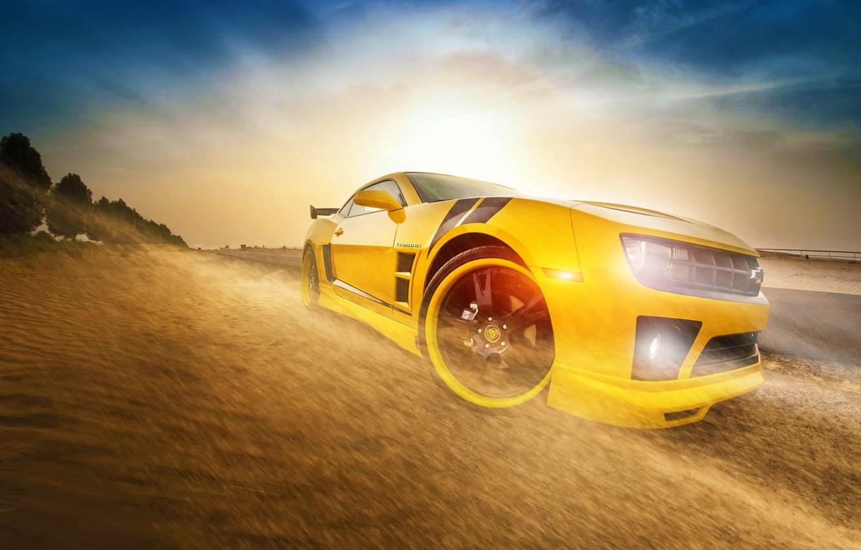 Photo wallpaper Chevrolet, Camaro, Car, Front, Sun, Yellow, Transformers, Bumblebee