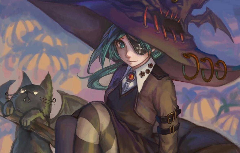 Photo wallpaper cat, girl, pumpkin, witch, halloween, Halloween
